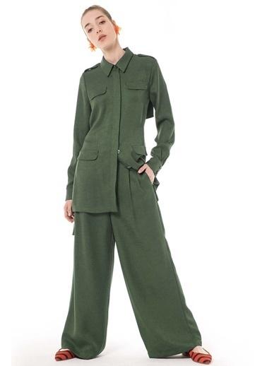 Vivencia Şifon Detaylı Ceket Pantolon Taş Takım Haki
